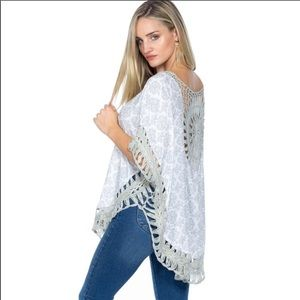 Tops - Crochet accents Boho Shawl